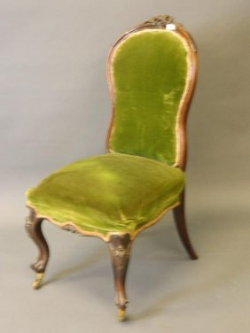 A Victorian Rosewood Side Chair With Shaped Back And
