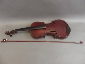 An Old Violin And Bow In A Fitted Case, Violin 23""