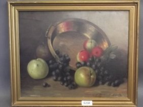 An Oil On Canvas, Still Life With Fruit And A Brass