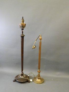 An Edwardian Oak Standard Lamp With Oil Reservoir,