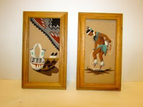 Vintage Navajo Sand Paintings Pair
