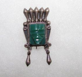Taxco Sterling Pre Eagle Aztec Warrior Brooch Pin