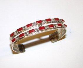 Vintage Zuni Sterling Coral Cuff Bracelet