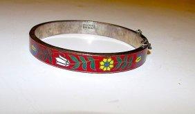 Sterling 925 Red Enamel Vintage Bangle Bracelet