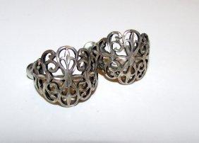 Art Nouveau Sterling Filigree Earrings