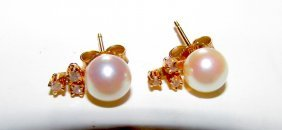 14k Gold Akoya Pearl Diamond Earrings