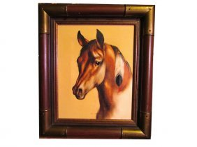 Vintage Oil On Canvas Framed Southwestern Horse