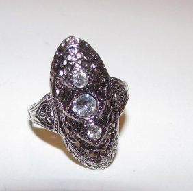 Art Deco Sterling Quartz Ring Size 10