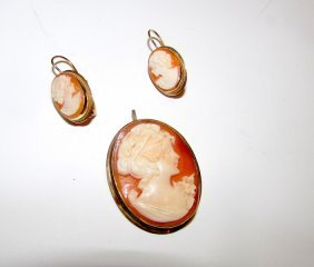 14k Gold Cameo Brooch Earrings Set