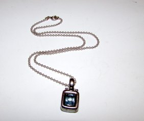 Sterling 925 Blue Topaz Necklace Deco Style