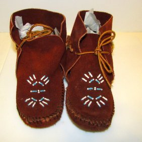 Vintage Native American Beaded Child Moccasins