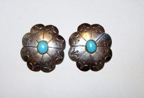Vintage Navajo Concho Stterling Turuqoise Earrings