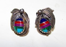 Old Pawn Navajo Squash Blossom Earrings Sterling