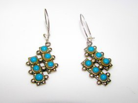 Old Pawn Sterling Turquoise Zuni Earrings