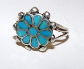 Old Pawn Zuni Sterling Turquoise Ring 6