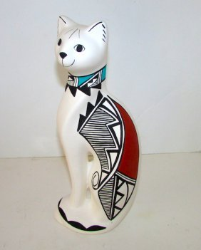 Native American Acoma Pueblo Cat Pottery Figurine