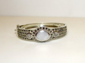 Sterling Silver 925 Mop Marcasites Bangle Bracelet