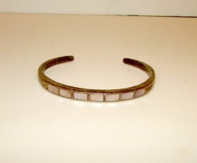 Native American Zuni Old Pawn Sterling Mop Bracelet