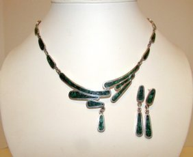 Mexican Sterling 925 Taxco Malachite Necklace Set