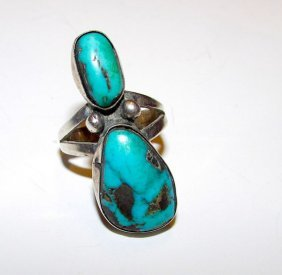 Old Pawn Navajo Sterling Turquoise Ring 7