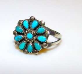 Vintage Old Pawn Zuni Sterling Turquoise Ring 7