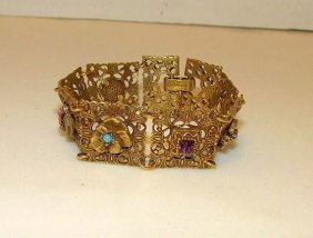 Goldette Victorian Revival Gold Tone Charm Bracelet