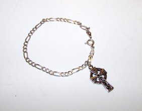 Celtic Cross Charm Sterling Silver Bracelet