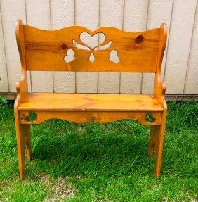 Vintage Hand Carved Solid Wood Ornate Garden Bench