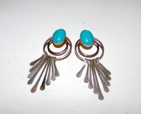 Vintage Zuni Sterling Turquoise Dangle Earrings