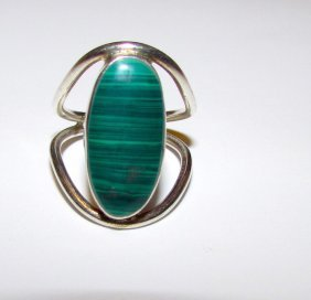 Art Deco Sterling Malachite Ring Size 5