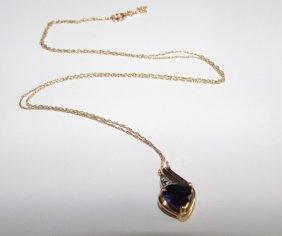 10k Gold Sapphire Diamond Necklace Estate Fine Jewelry