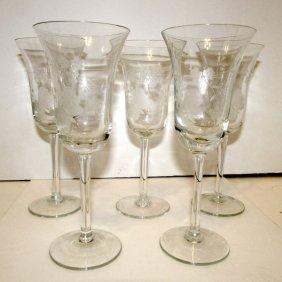 Vintage Finely Etched Wine Glasses Cordials Stemware