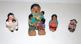 Pueblo Native American Small Story Teller Figurines Lot