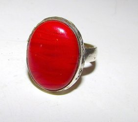 Vintage Mexican Taxco Sterling Carnelian Ring Size 8