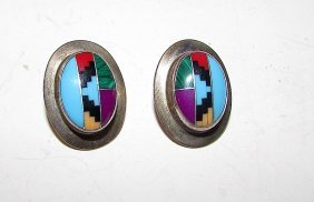 Old Pawn Sterling Turquoise Navajo Earrings