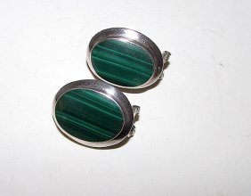 Sterling Malachite Earrings Taxco Mexican Sterling 925