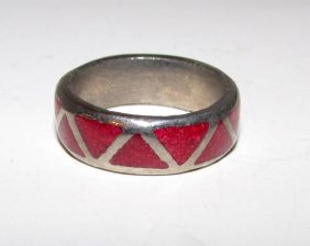 Old Pawn Navajo Sterling Coral Chip Inlay Ring 7.5