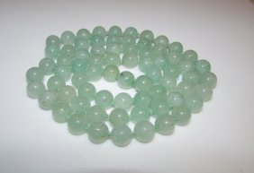 Vintage Green Jade Jadeite Moss On Snow 7mm Bead