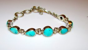 Mexican Sterling Turquoise 925 Bracelet