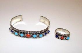 Navajo Sterling Lapis Turquoise Coral Bracelet Ring Set