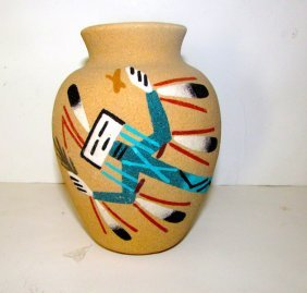 Vintage Navajo Sand Art Decorative Pottery Yei Design
