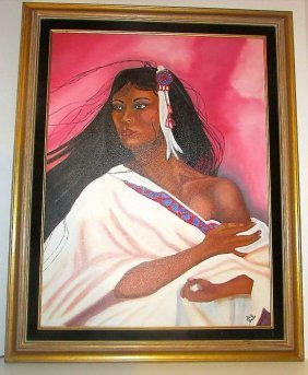 Native American Oil On Canvas Portrait Painting. Framed