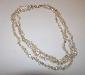Victorian Style Pearl Necklace With 14k Gold Casp