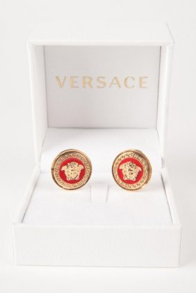 New Versace Red Medusa Clip Signature Earrings