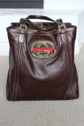 Gucci Extra Large Britt Collection Brown Leather Bag