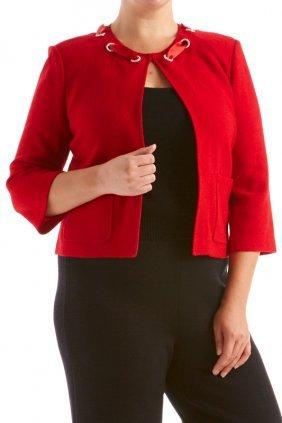 St John Knits Collection Red Novelty Knit Jacket (12)