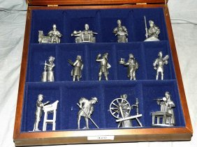 Franklin Mint Pewter Miniatures In Case. (13)