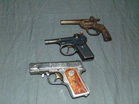 (3) Vintage Toy Cap Guns, Kilgore & Hubley