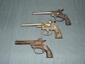 (3) Vintage Cast Iron Toy Cap Guns, Kilgore/hubley
