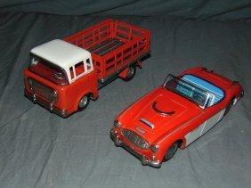2 Bandai Tin Litho Friction Vehicles